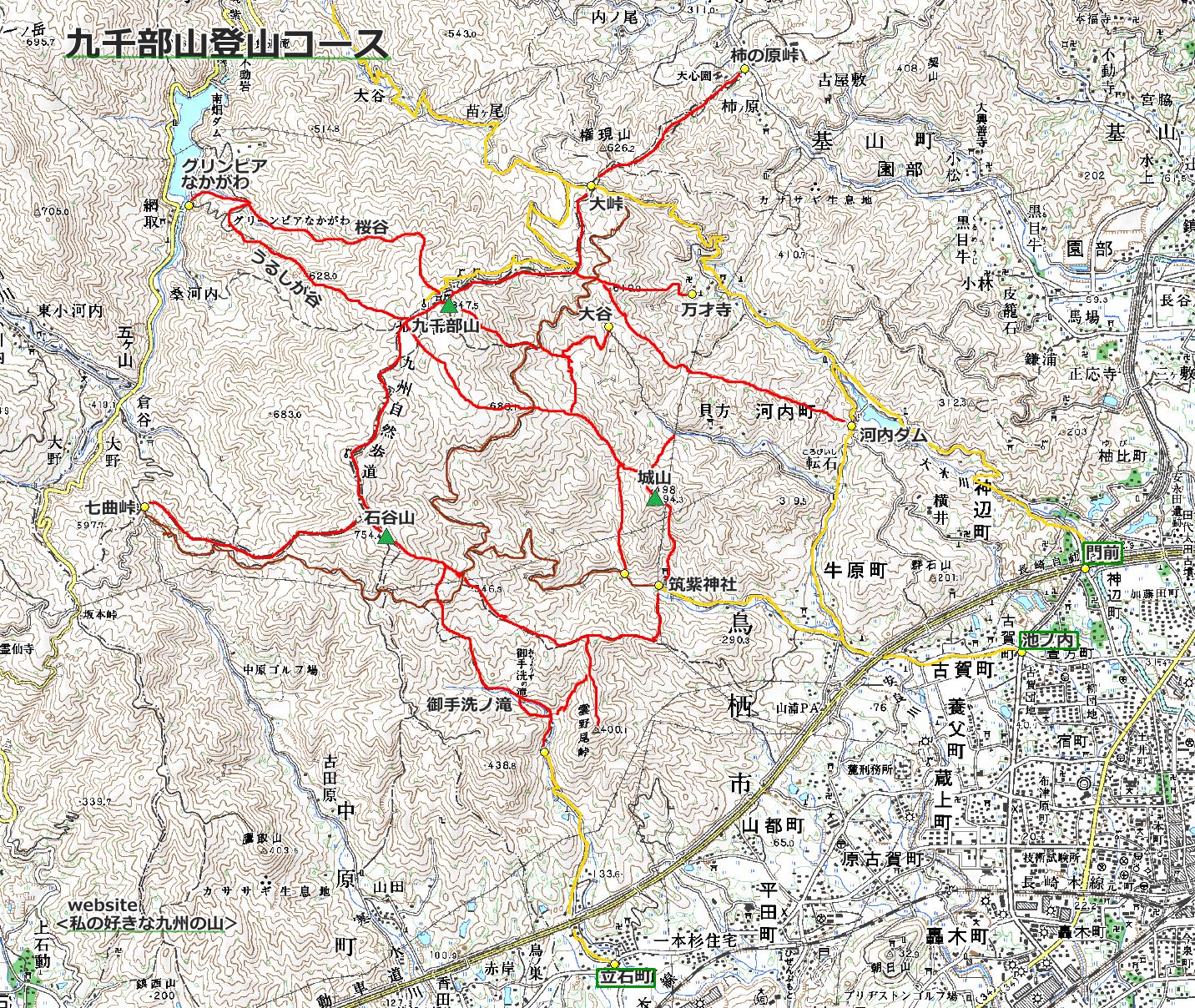 九千部山登山コース案内マップ